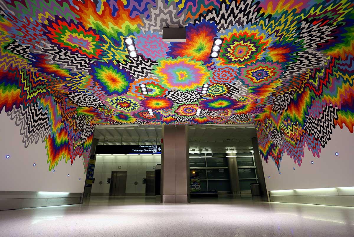 Jen Stark Mural In Miami International Airport Miami